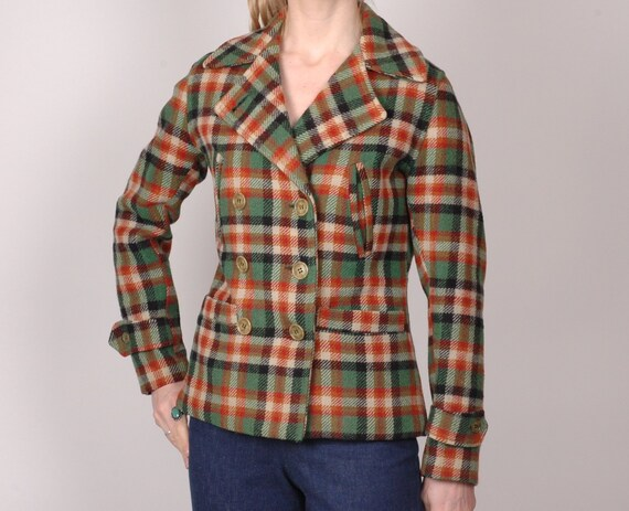 1940s wool plaid check leisure sports coat jacket,