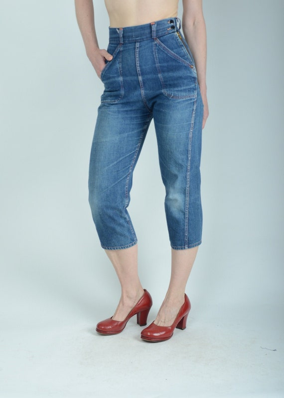 """1950s side zip denim jeans, 25"""" , True Vintage"""