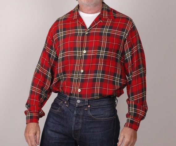 1950s Gab shirt, loop collar, tartan plaid, True v