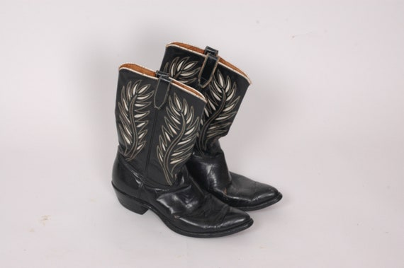 1950s Acme western boots, cowboy boots, Black leat
