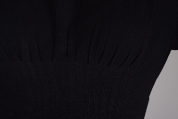1940s Black crepe evening dress, evening gown, le… - image 7