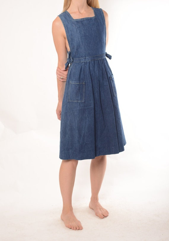 1970s does 1940s denim pinafore dress S, True Vint