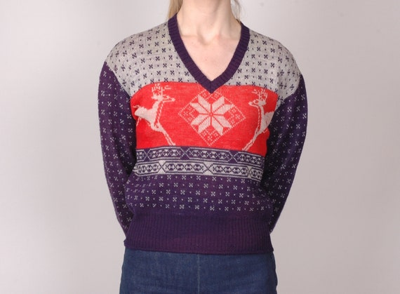 1940s virgin wool v neck sweater, picture knit, pu