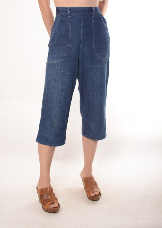 "1950s Kitty Carson side zip denim jeans, 25""- 26 1"