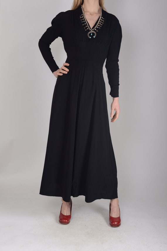 1940s Black crepe evening dress, evening gown, leg