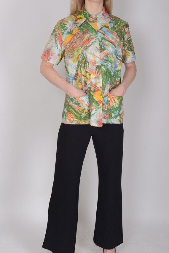 1930s, 1940s tropical Hawaiian novelty print smock