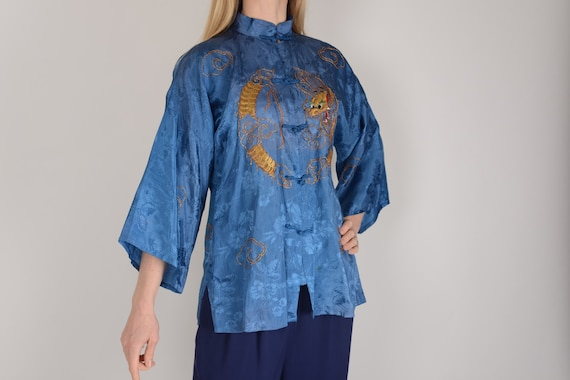 1940s Blue jacquard Dragon Chinese Changshen blous