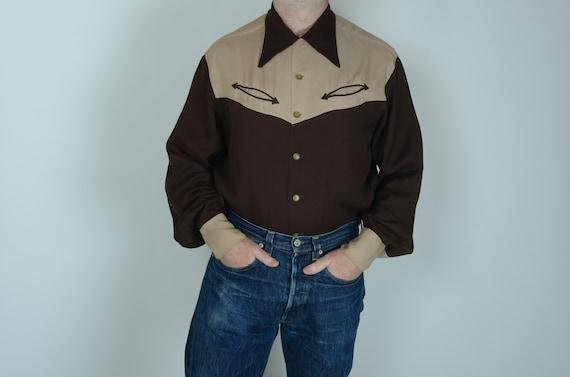 1940s Pilgrim two tone gabardine western shirt, XL