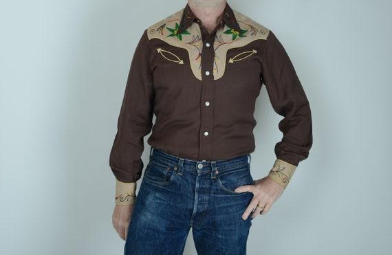 1940s Prior gabardine embroidered western shirt, M