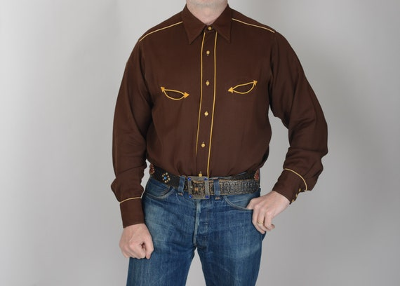 "1940s Miller piped gabardine western shirt, 42"", T"