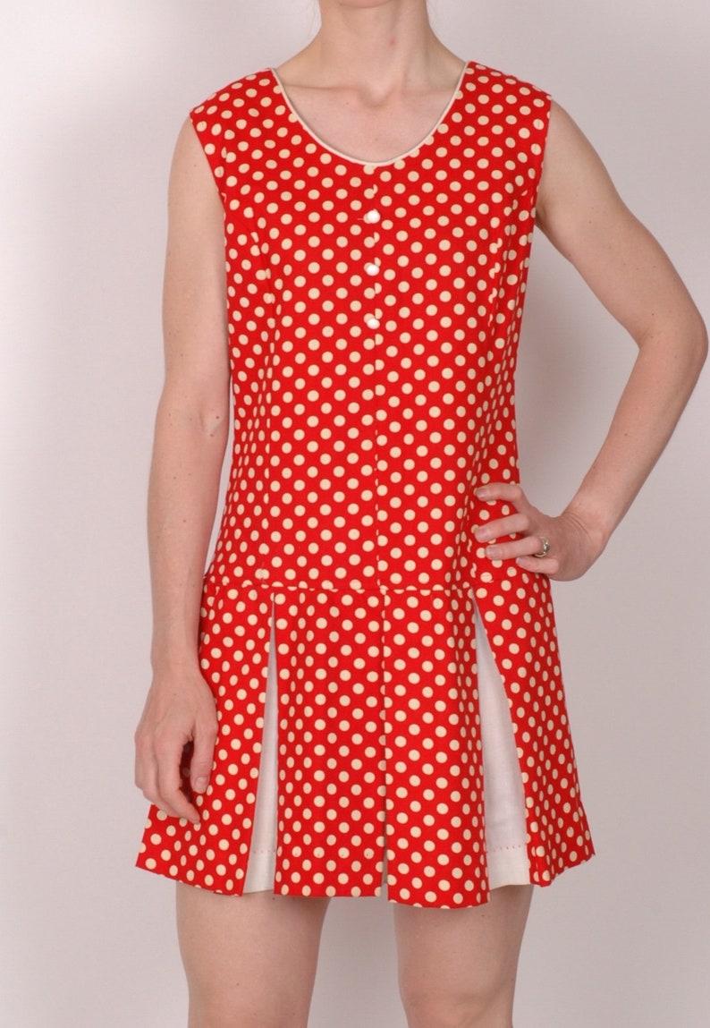 282bf89ac5 True vintage 1960s Red Polka dot mini dress drop waist