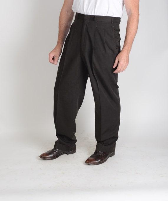 1950s flat front rayon gab trousers, pants, rockab