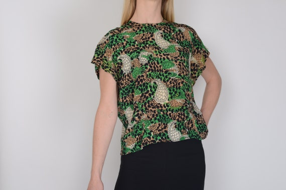 1940s paisley novelty print silk blouse, top, M, T
