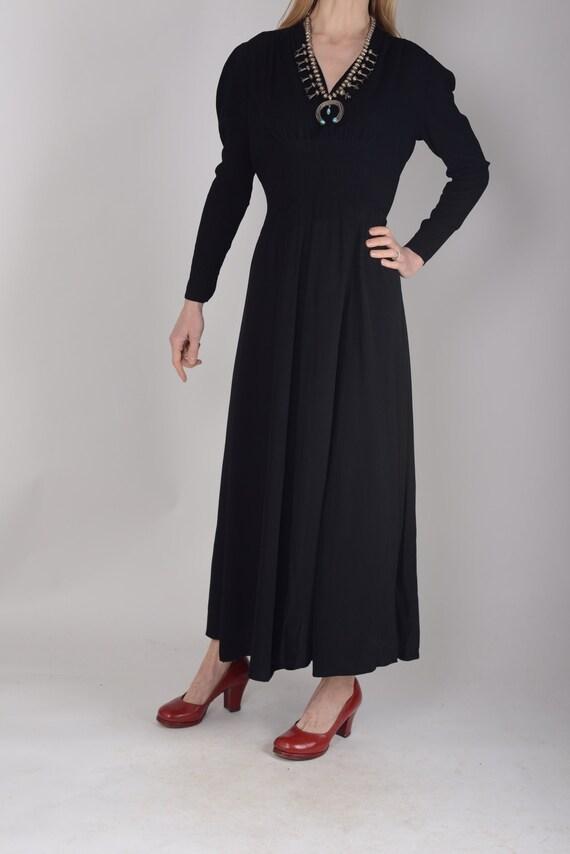 1940s Black crepe evening dress, evening gown, le… - image 3