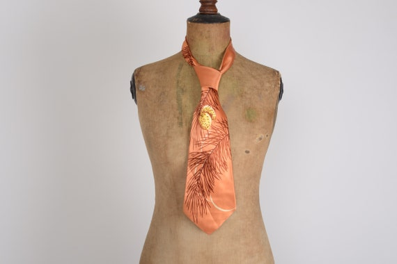 1940's Copper feather print rayon tie, Lindy hop,