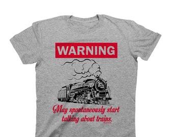 WARNING May Spontaneously Start Talking About TRAINS - Organic Cotton - Mens T-Shirt