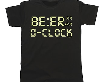 ae6b9ae3a8 Beer O Clock T-Shirt Mens Ladies Unisex Fit Funny Retro Digital Style