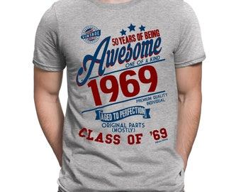 5483abea Buzz Shirts 50 Years Of Being AWESOME Mens 50th T-Shirt Class of 1969  Birthday Gift