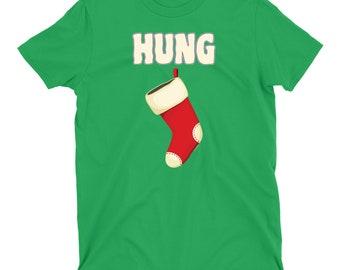 91a06aa9f45 HUNG STOCKING Mens Funny Christmas T-Shirt Xmas Rude Joke Novelty Slogan  Top Tee