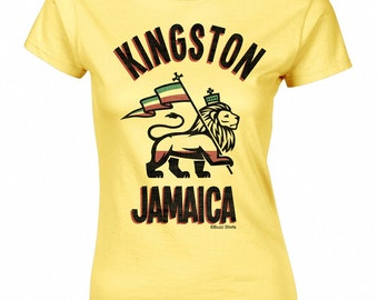 Kingston Jamaica Ladies T-Shirt Retro Birthday Gift New