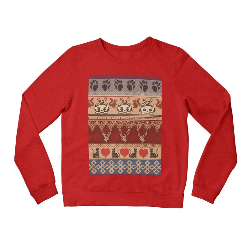 Kitten Christmas Sweater.Christmas Cat Mens Funny Xmas Sweater Ladies Novelty Kitten Festive Jumper Knit