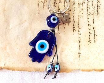 Turc Oeil maléfique Bleu Crystal Key-Ring Lady Sac à main Sac Charm Sac à main Porte-clés
