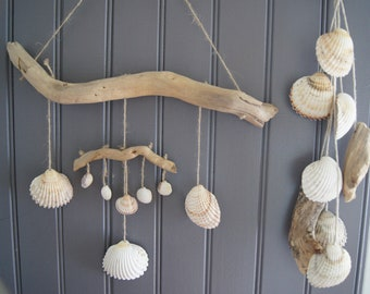 2 suspensions chimes mobile Garland shells and Driftwood