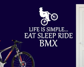 BMX FREESTYLE Wall Decal Personnalisé Garçon Nom Vinyl Decal Sticker Nursery ZX134