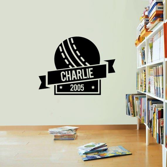 Personalised Cricket Badge Wall Vinyl Sticker Decal Boys Etsy