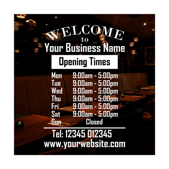 Shop Window Personalised Opening Hours Times Customised Sign Vinyl Sticker 1