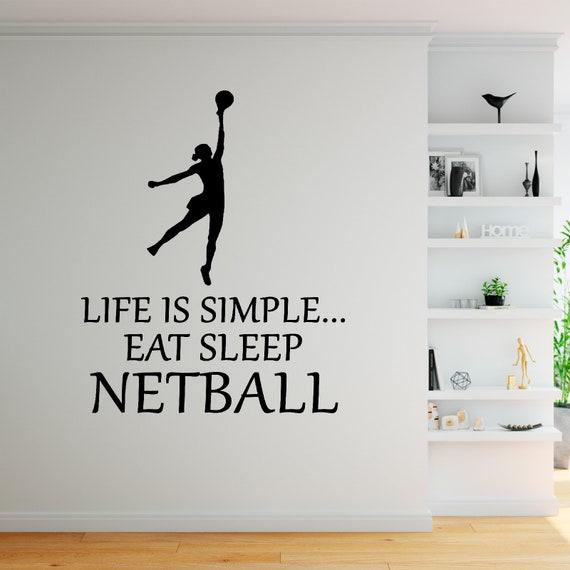 Eat Sleep Netball Wall Sticker Vinyl Decal Decors Art Netball Sticker Sports