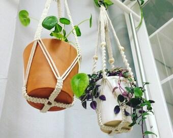 Macrame Plant Hanger Without Tassel on Bottom, Small Boho No Tail Plant Holder, Large Succulent Hygge Planter, Modern Macrame Pot Hanger