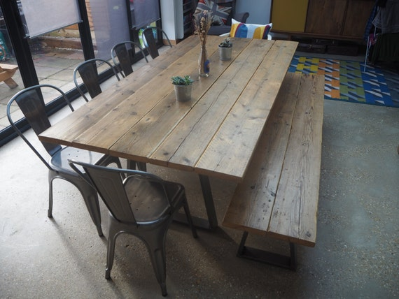 Extra Large Rustic Dining Room Table And Bench Etsy