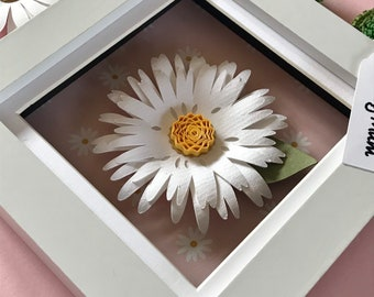White paper daisy 3D wall art, Gift for Mother's Day,Box of flowers