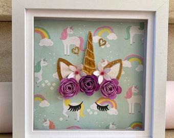 Personalised 3D Unicorn paper flower Wall Art, Sparkle like a Unicorn, Paper flower wall Decor, Handmade Unicorn wall art