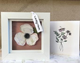 Gift for Mother's Day, Keep sake gift for Mum, Framed Paper Flowers, Mother's Day gift, Paper art, Little box of Flowers, Gift for Friend