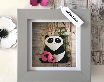 Panda picture with bamboo and cherry blossom, Framed panda wall art, Personalised Panda Gifts, Baby animal wall art