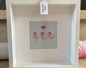 Flamingo 3D wall art, Pink Flamingos, Gift for flamingo lover, Christmas Gift for her, Nursery art