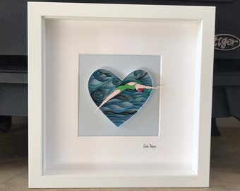 One of a kind Art, Open water swimming, Art for Swimmers, The Wild Swimmer, 3D quilled framed wall art, Gift for swimmers