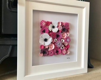 Flower 3D wall art, First wedding anniversary gift, Orchid and blossom quilled paper art, Birthday gift for her, Quilled art