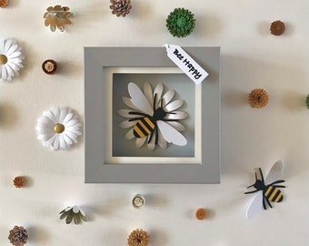 Bee Happy, Box Framed Handcrafted 3D Bee Art, Bee Birthday Gift, Gift for bee lover, 3D Honeybee art