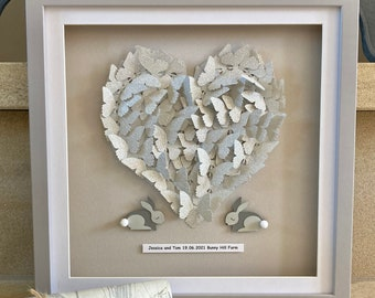 Commissioned Wedding Gift, Personalised wedding heart, Paper Heart, Gift for bride and groom, Silver heart wall art, Nursery Artwork
