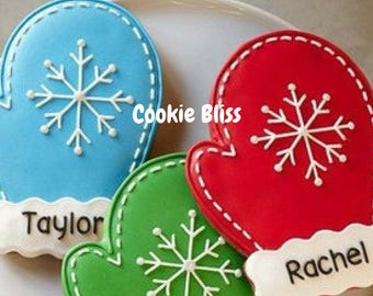 12 mitten cookies hand decorated cookies sugar cookies holiday food christmas cookies christmas treats baked goods party favors cookie gift
