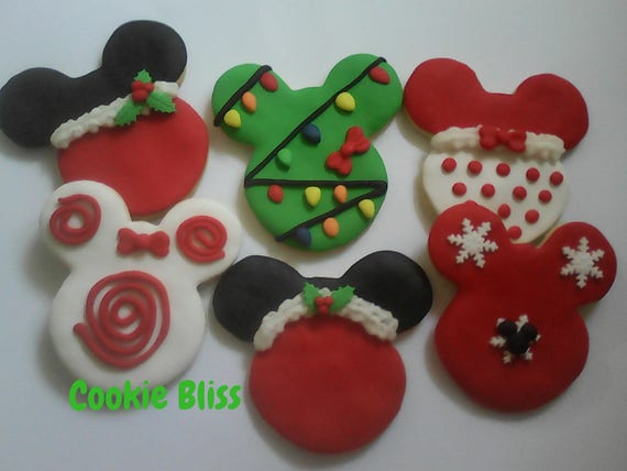 12 Mickey Minnie Mouse Christmas Cookies Party Favors Baked Goods Sugar Cookies Handmade Cookies Decorated Cookies Christmas Cookie Gifts