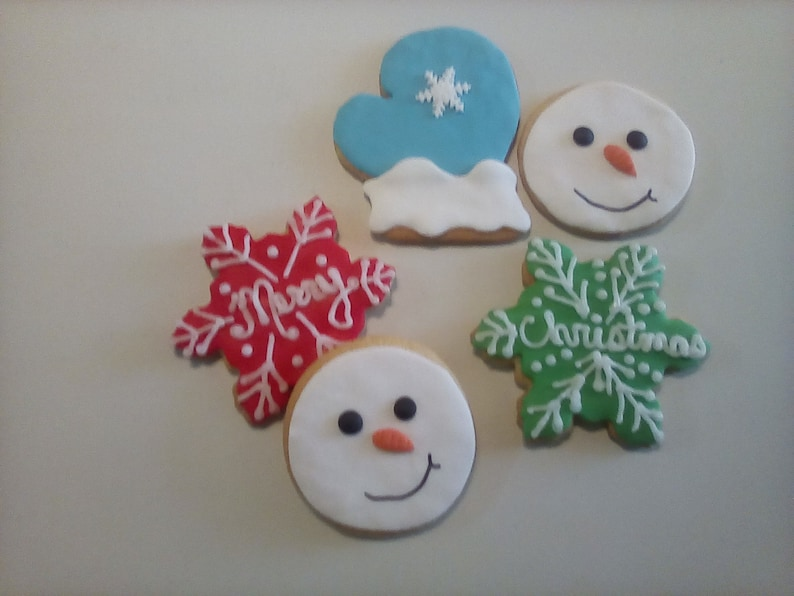 12 Merry Christmas Cookies Hand Decorated Cookies Sugar Cookies Christmas Cookies Christmas Treats Baked Goods Party Favors Cookie Gifts