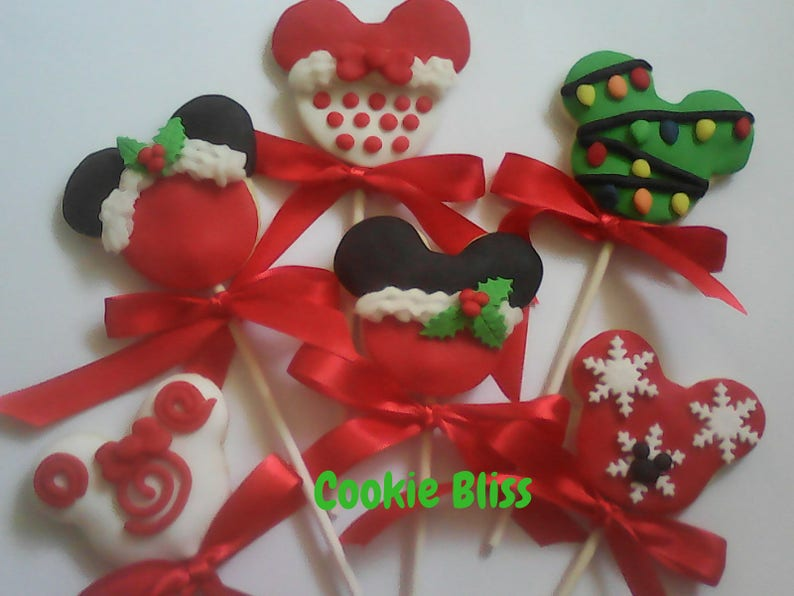 6 Minnie Mickey Mouse Christmas Cookie Lollipops Party Favors Favors Decorated Cookies Baked Goods Christmas Cookie Gifts Sugar Cookies