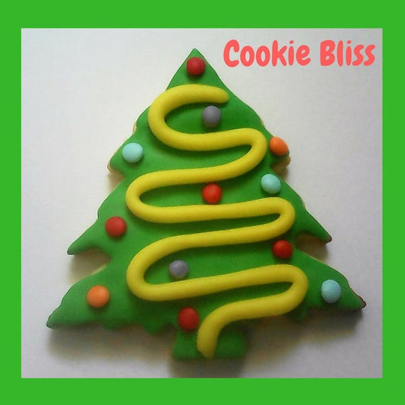 12 Green Christmas Tree Cookies Hand Decorated Cookies Sugar Cookies Holiday Food Christmas Cookies Christmas Treats Baked Goods Party Favor