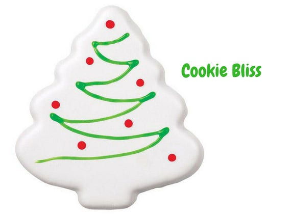 12 White Christmas Tree Cookies Hand Decorated Cookies Sugar Cookies Holiday Food Christmas Cookies Christmas Treats Baked Goods Party Favor