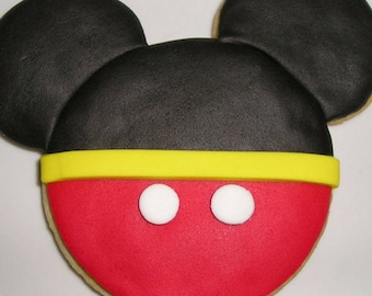 12 Mickey Mouse Cookies Party Favors Kid's Birthday Baked Goods Sugar Cookies Handmade Cookies Decorated Cookies Cookie Gifts