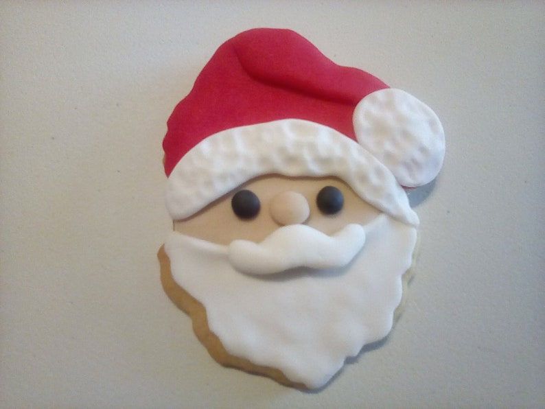 12 Santa Claus Cookies Hand Decorated Cookies Sugar Cookies Holiday Food Christmas Cookies Christmas Treats Baked Goods Party Favors